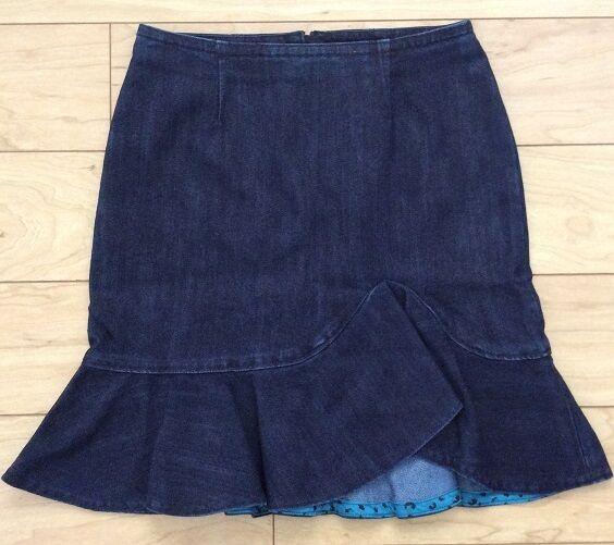 Leifsdottir Lana Denim Skirt Size 0 Petite Dark bluee NW ANTHROPOLOGIE Tag
