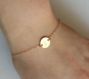 Image Is Loading Gold Initial Bracelet Personalized Id Monogram Engraved