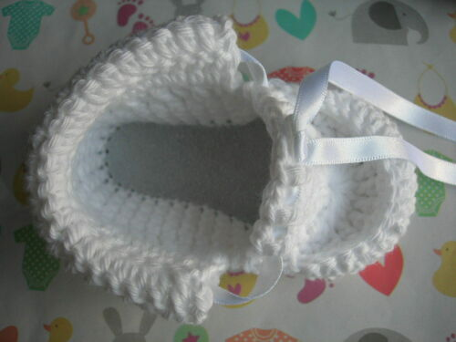 New. Leather soles White 4 sizes Christening booties//shoes Handmade Cotton