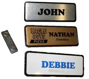 Personalised NAME BADGE MAGNETIC 7.6x2.5cm Name tag WORK BADGES custom name logo