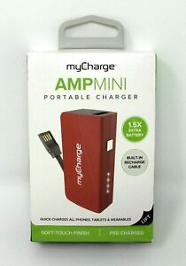 Mycharge Ampmini Portable Charger With 1 Usb Port 1 0a Red 2600mah Amu26c A Ebay