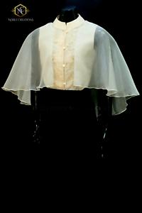 bd3025c9b34 Modern FILIPINIANA Dress Silk CAPE BARONG tagalog Philippine National  Costume
