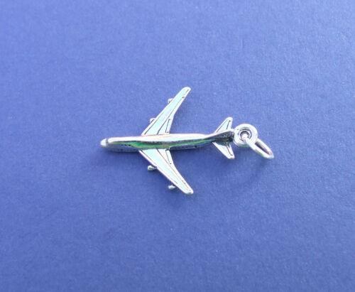 Avión Jet piloto de vuelo volar vacaciones encanto plata esterlina 925