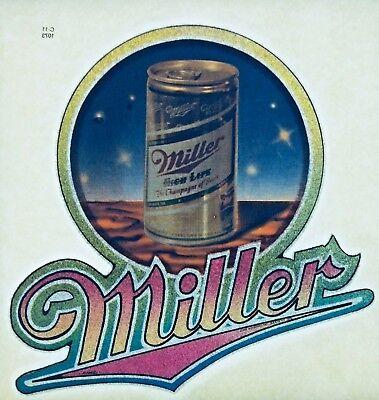 Original Vintage Classic Miller Lite A Fine Pilsner Beer Iron On Transfer