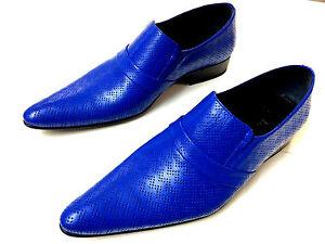 Chelsy Ledersohle Slipper Blau 43 Herrenschuh Design Loch Leather Ausgefallener Bwgfqv