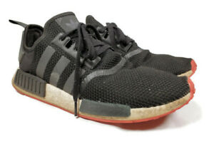 Adidas-NMD-R1-Athletic-Running-Shoes-Black-Scarlet-Red-Size-13