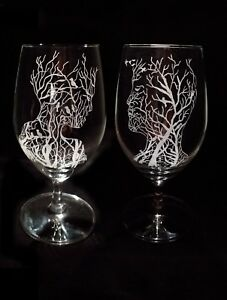 Handmade glass engraved set of two glass