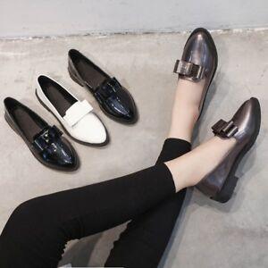 Para-Mujeres-Moda-Charol-Mocasines-arco-Puntera-en-Punta-Informal-Zapatos-Bombas-Slip-On
