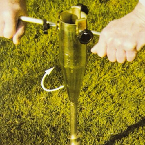 HEAVY DUTY SCREW IN METAL GROUND SPIKE FOR ROTARY WASHING LINE✔PARASOL