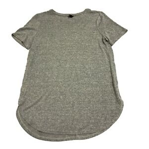 Ann-Taylor-Solid-Gray-Lightweight-Knit-Scoop-Neck-Short-Sleeve-Blouse-Shirt-Top