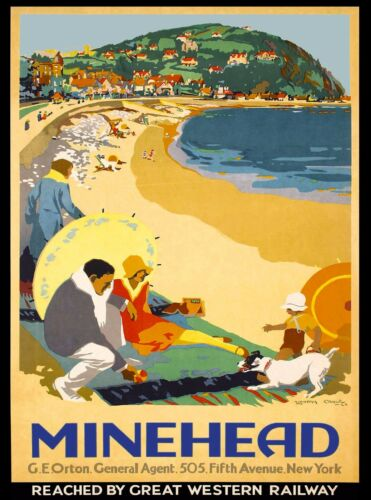 Minehead Somerset England Great Britain Vintage Travel Decor Art Poster Print