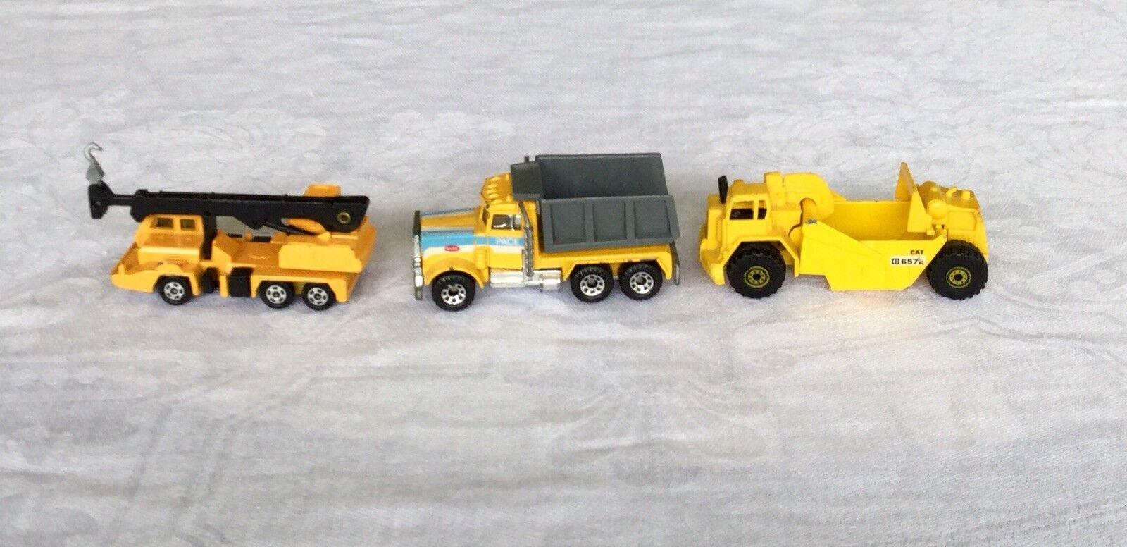 Conjunto de 3 vehículos de construcción DIECAST VINTAGE DE FECHA 1974-1981