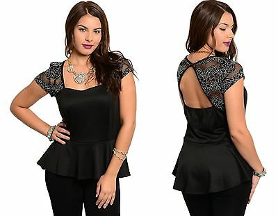 WOMENS LADIES BLACK PEPLUM LACE FLORAL SWEETHEART PARTY TOP PLUS SIZE 14 16 18