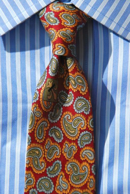 Gentleman's Vintage Ancient Madder Maroon, Green, Blue Paisley 100% Silk Necktie