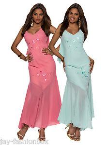 Damen-Maxikleid-Vintage-Lang-Kleid-Abendkleid-Ballkleid-Chiffon-Zweilagig