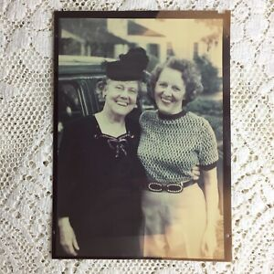Vintage Photo Older Women Mother Daughter 1940s WW2 Ansco Agfa Color ID Franklin
