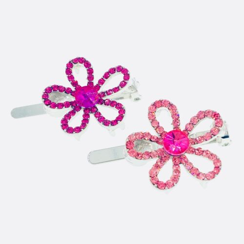 Flower Magnet Hair Clip Hairpin  Rhinestone Crystal Small Barrette Magenta #6