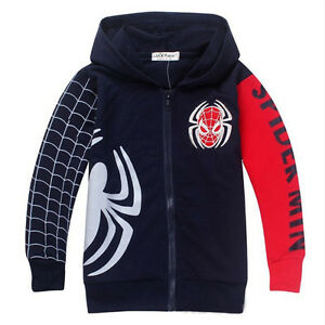 Boys-Kids-Spiderman-Zipper-Clothes-Sweatshirt-Hoodies-Jacket-Coats-Outwear-Tops