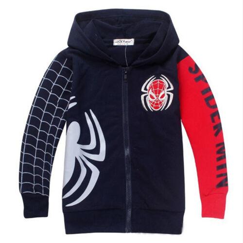 Kids Boys Marvel Spiderman Clothes Hoodies Pullover Sweatshirt Jumper Coats Tops