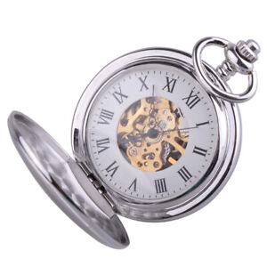 Silber-Skelettuhr-Mechanische-Uhr-Herren-Damen-Unisex-Taschenuhr-mit-Kette-ye