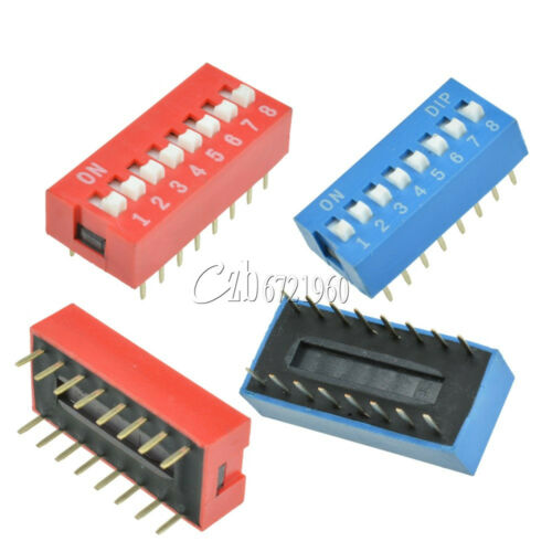Red//Blue 10//50PCS 2.54mm Pitch 8-Bit 8 Pin Positions Ways Slide Type DIP Switch