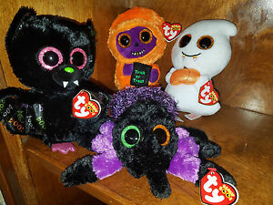 AUTHENTIC Beanie Boo Set 2017 Halloween 6 inch Creeper Skelton Dart ... c12596ec021