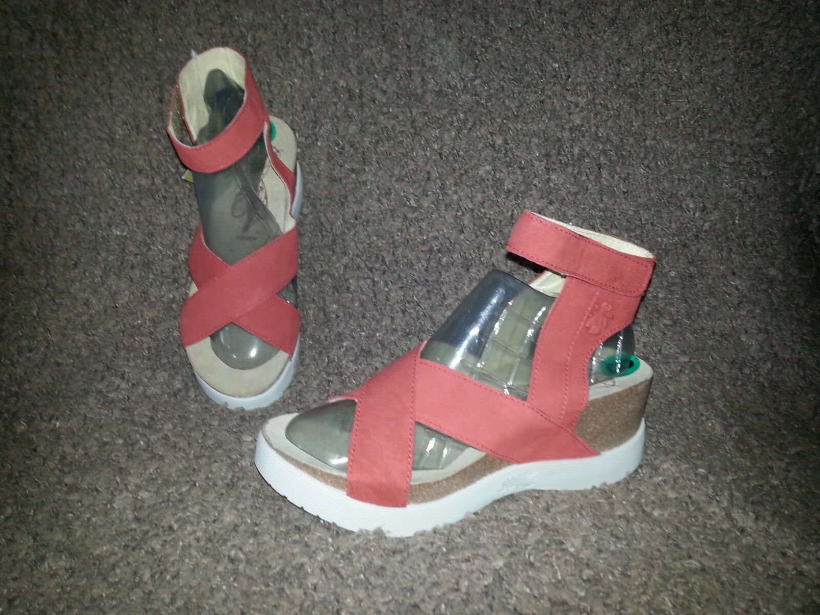 FLY LONDON-WEELSandal-Scarlet Cupido Nubuck-Dimensione 8-38-NEW WITH TAG