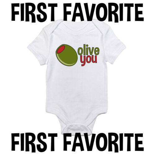 Olive You Baby Onesie Shirt Shower Gift Funny Newborn Clothes Gerber