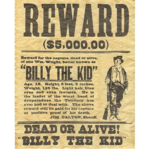 Billy The Kid Wanted Dead or Alive Gun Outlaw Poster Old West Bar ...