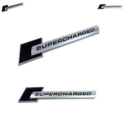 2 X Black Supercharged Emblem Fits GM - Ford - Audi - Cadillac - 100% Universal