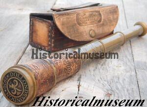 Vintage Nautical Telescope Brass Pirate Spyglass Collectible Scope W/ case AZ8DM