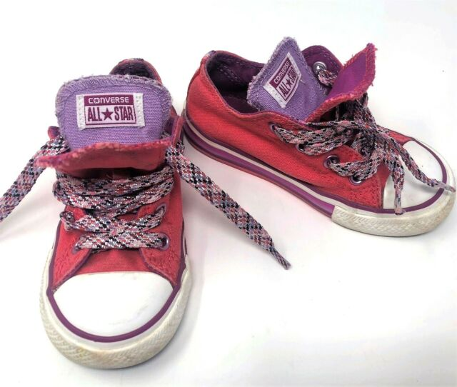 Converse Pink Rainbow Canvas Double Tongue Tod Sneakers Toddler Girl's Size 8 M