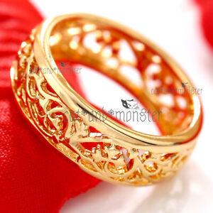 18K-GOLD-GF-VICTORIAN-VINTAGE-FILIGREE-ETERNITY-COMFORT-BAND-SOLID-WEDDING-RING