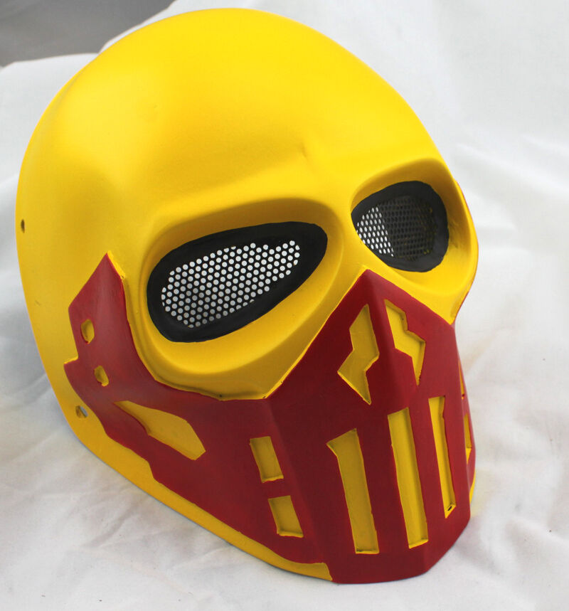 Yellow Fiber Resin Wire Mesh Eye Airsoft Paintball Full Face Predection Mask