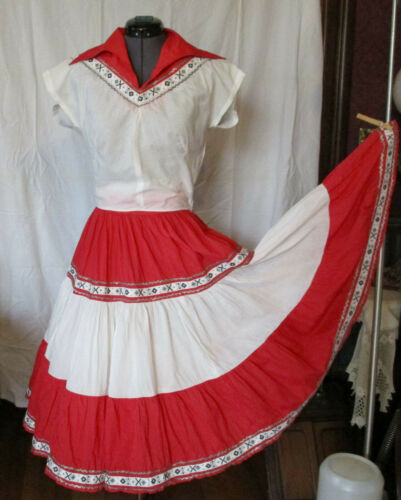Vintage Square Dance Dress Skirt Top Set 1950s  Ri