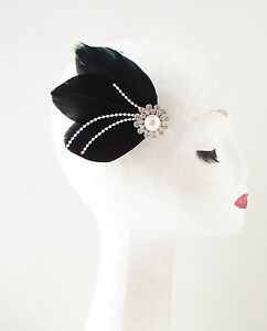 Black White Silver Feather Pearl Fascinator Hair Clip Vintage 1920s ... 90420ee0aa2