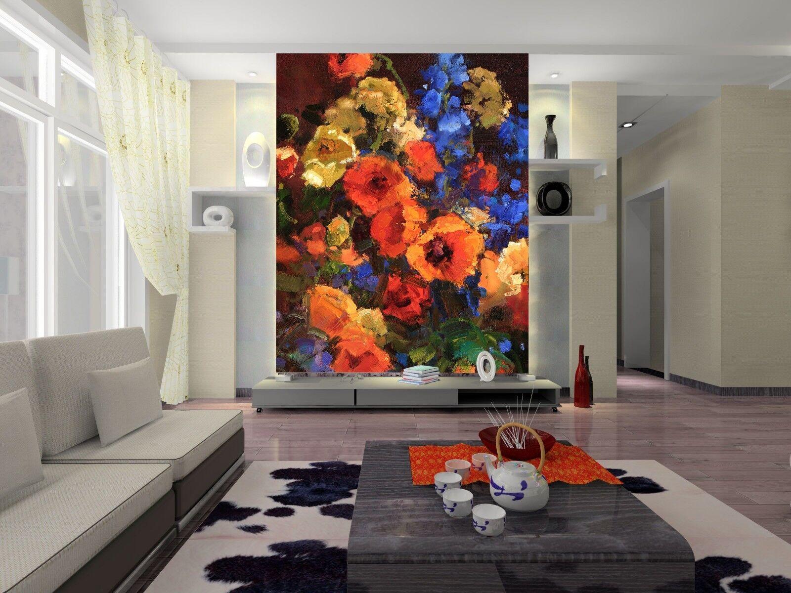 3D Ölgemälde Blumen 557 Tapete Tapeten Mauer Foto Familie Tapete Wandgemälde DE