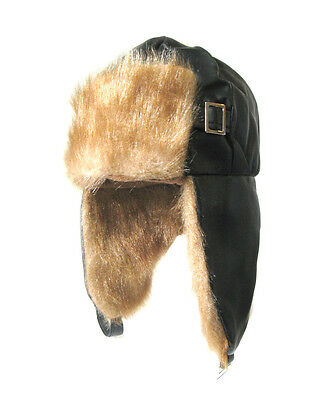 AVIATOR PILOT FAUX LEATHER & FUR HALLOWEEN COSTUME PARTY HAT CAP - ADULT SIZE