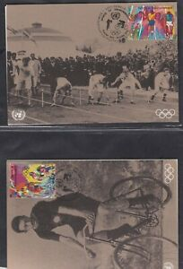 UNITED NATIONS GENEVA & VIENNA 4 FDCs 1996 SPORT & ENVIRONMENT ON MAXI CARDS