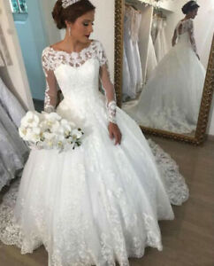 Long-Sleeve-Lace-Appliques-A-line-White-Ivory-Wedding-Dresses-Bridal-Ball-Gowns