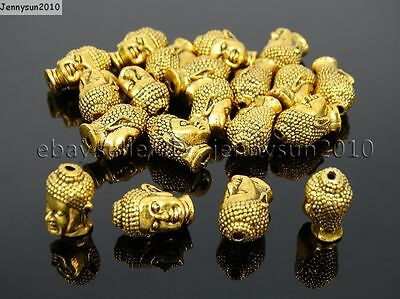 Solid Metal Buddha Head Bracelet Connector Charm Beads Silver Gold Copper Bronze