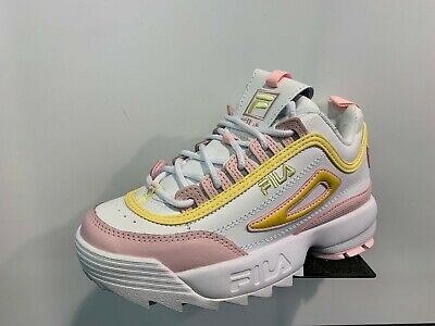 FILA Disruptor 2 PRM Repeat White Pink Yellow GS Girls Women Size 4Y 7Y NEW DS   eBay