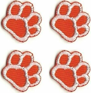 """Lot of 4 White Dog Animal Paw Print Embroidery Patch 5//8/"""" inch each"""