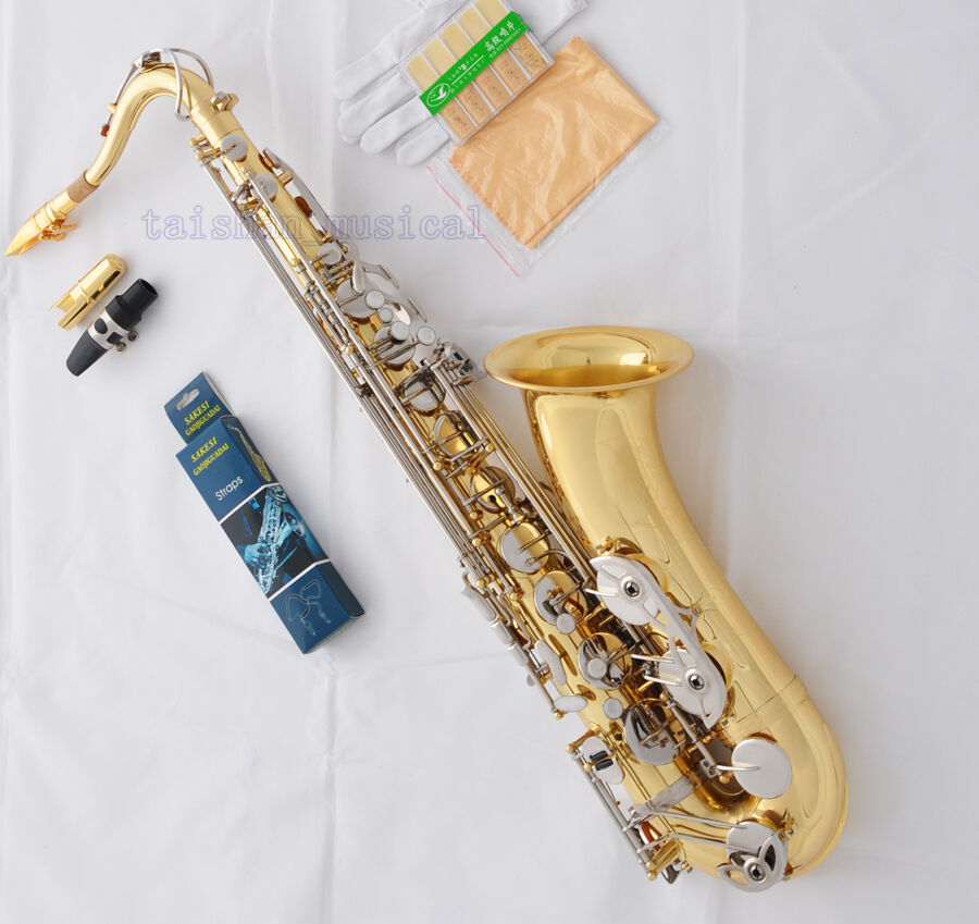 Professional Gold Silber Bb Tenor Saxophone High FDouble Farbe Sax Metal Mouth