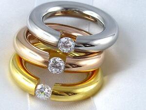 ... Tricolor Ringe Edelstahl Ring Spannring Solitär Rose Gold Vg Zirkonia