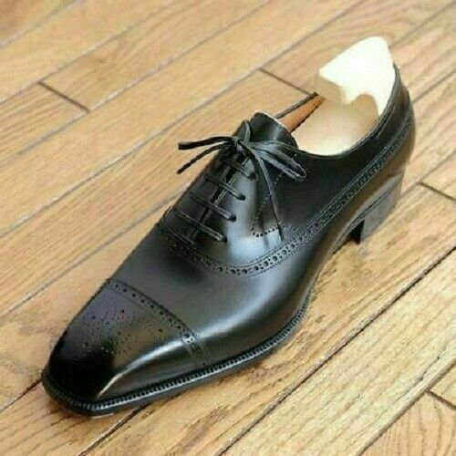 Mens Handmade Black Brogue Oxfords Goodyear Welted Formal Dress Leather Shoes