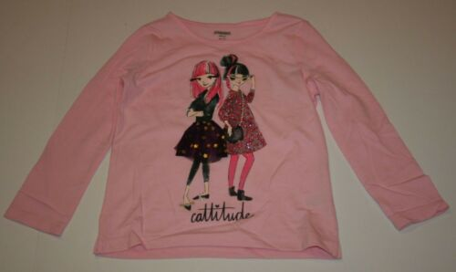 NEW Gymboree Girls Top Pink Long Sleeves Friends Cattitude Glitter GraphicTee