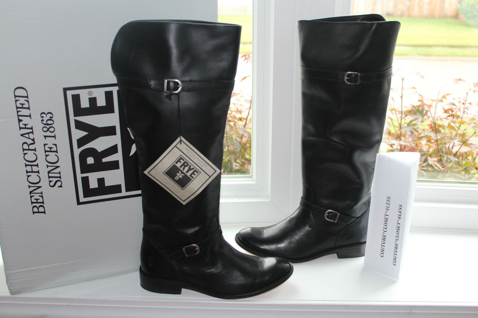 FRYE SHIRLEY RIDING BLACK LEATHER us $388