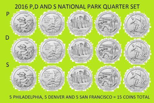 2016 P D /& S America the Beautiful Quarter 15 Coin Set