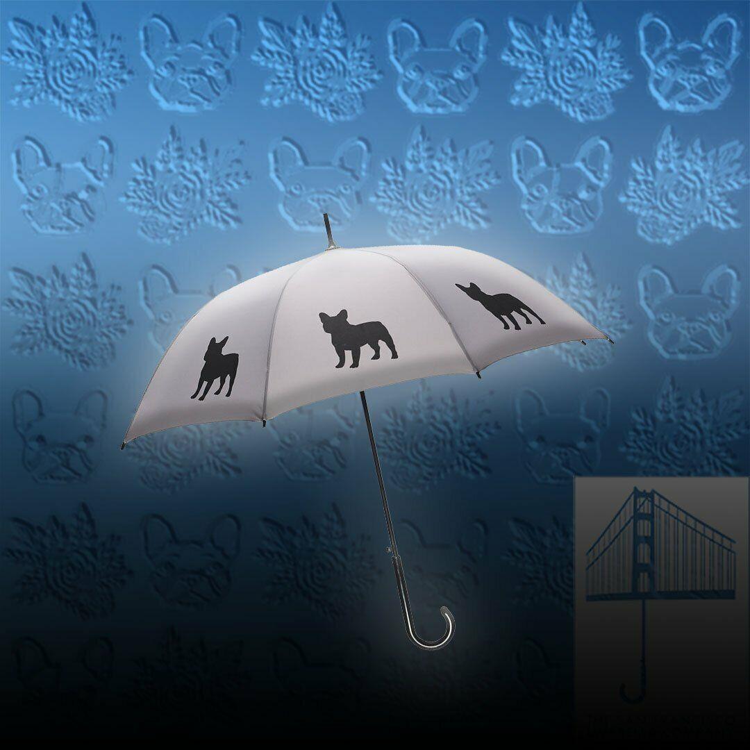 French Bulldog Stick Umbrella Auto Open Premium Quality Black on Silver